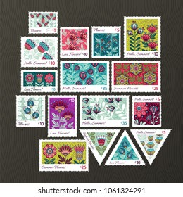 Set of Vector Postage Stamps Illustrations with Doodle Style Flowers. Hand drawn flourish elements. Cute and fancy backdrop for textile, banner, greeting card, invitation, wrapping, scrapbooking, web