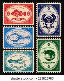 set of vector postage stamps with seafood