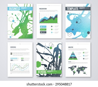 Set of Vector Poster Templates with Blue Green Watercolor Paint Splash. Abstract Background for Business Documents, Flyers and Placards. Infographics elements in flat style.