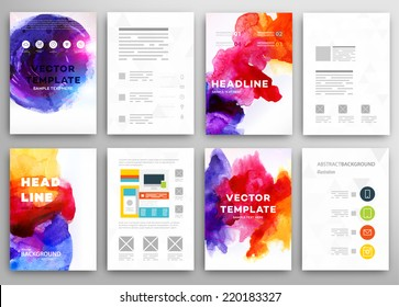 Set of Vector Poster Templates with Watercolor Paint Splash. Abstract Background for Business Documents, Flyers and Placards.