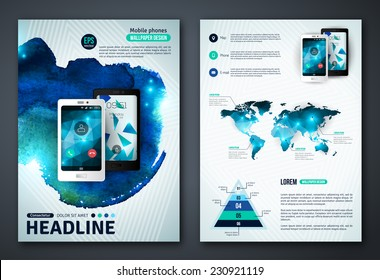 Set of Vector Poster Templates with Watercolor Paint Splash. Abstract Background for Business Documents, Flyers and Placards. Mobile Technologies, Applications and Online Services Infographic Concept.