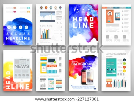 Set Vector Poster Templates Watercolor Paint Stock Vector Royalty