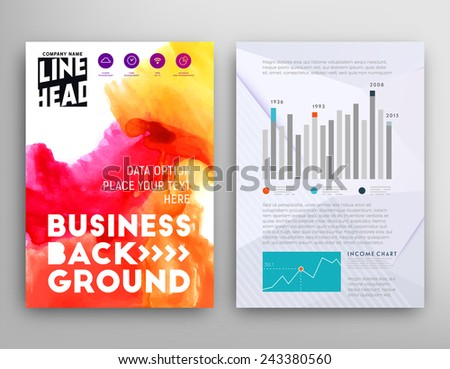Set vector poster templates watercolor paint stock vector royalty set of vector poster templates with watercolor paint splash abstract background for business documents cheaphphosting Gallery