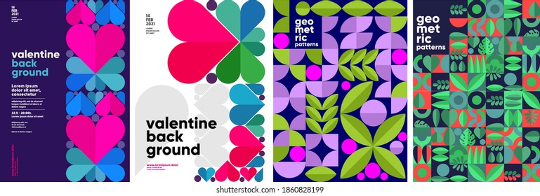 Set of vector posters or event banner. Valentine's day posters, valentines with abstract, geometric background. Geometric prints, geometric patterns.  - Shutterstock ID 1860828199