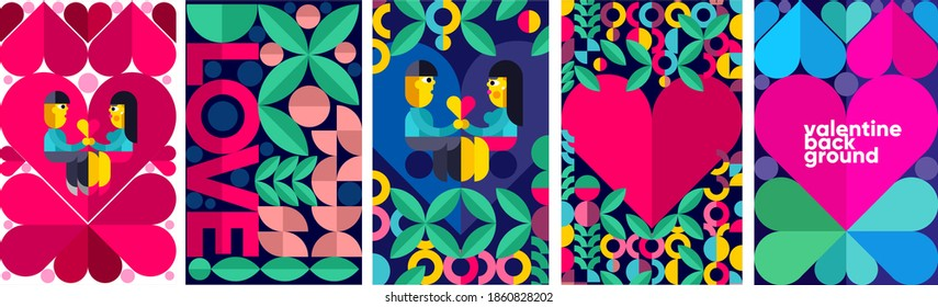 Set of vector posters or event banner. Couple on the background of the heart. Valentine's day posters, valentines with abstract, geometric background. Geometric prints, geometric patterns.