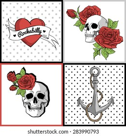 Set of vector posters with hearts, roses, skulls, ribbons, anchor. Rockabilly style.