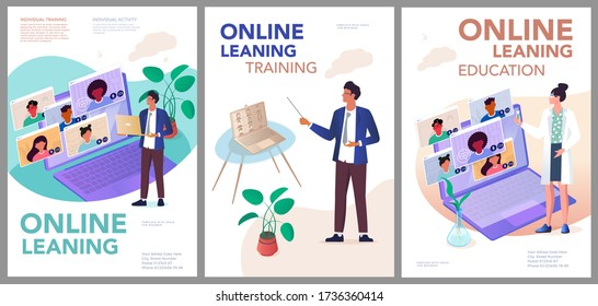 Set of vector posters - online training, video conferences, work from home, individual learning. Print a vertical template with space for your text.