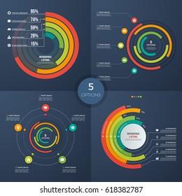 Set of vector presentation circle infographic charts 5 options