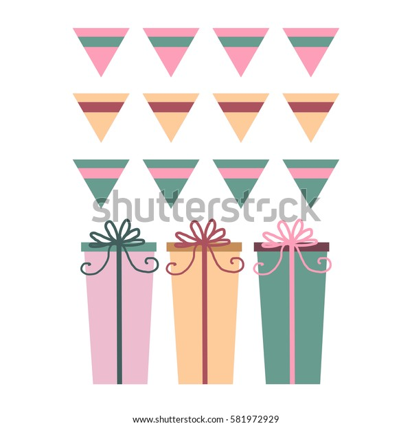 Set of vector presents with pennants