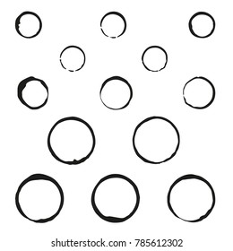 A set of vector prints of circles. Black. Isolated on white background. Use for brushes or design with the effect of prints and other. Eps 10