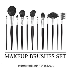 Set of vector professional brushes for make-up isolated on white background