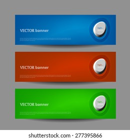 Set vector progress designer banners / variations in color. Product choice or versions.