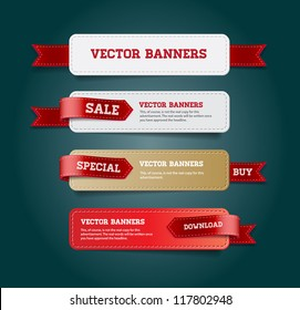 A set of vector promo banners decorated with red ribbon tags