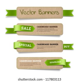 A set of vector promo cardboard paper banners decorated with green ribbon tags