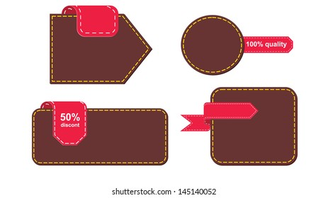 A set of vector promo leather banners decorated. Wallets and Tabs
