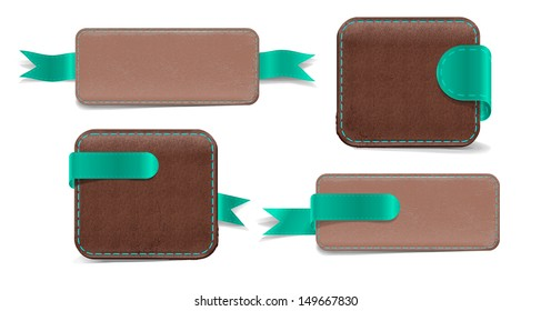 Set of vector promo leather banners decorated. Wallets and Tabs.