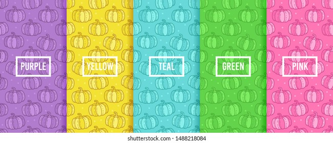 Set of vector pumpkin fruit seamless pattern, collection of bright colorful background and texture with modern label. Purple, yellow, teal, green and pink color option of banana motif.
