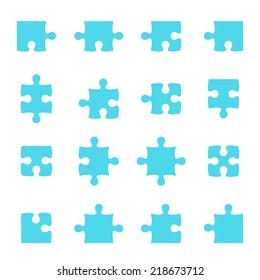 Set of vector puzzle pieces. jigsaw.