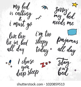 Set of vector quotes about sleep.