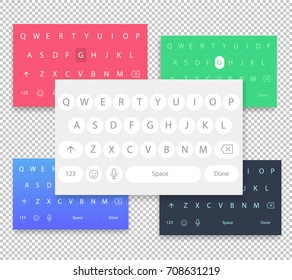Set of vector QWERTY mobile keyboards for smart phone designs. Set of vector keyboards for the user interface to type texts and messages on a mobile screen. Keyboard isolated on transparent background
