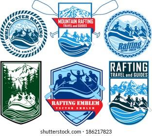 set of vector rafting emblems labels