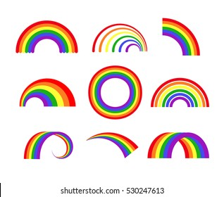 Set of vector rainbows white background