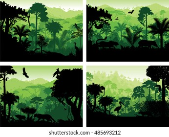 set of vector rainforest animals silhouettes in sunset design templates