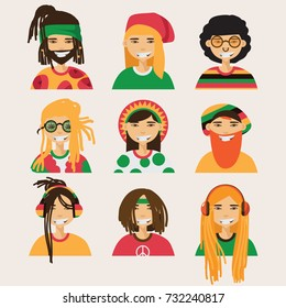 Set with vector rastafarian men, isolated on background. Lovely flat cartoon characters in bright colors