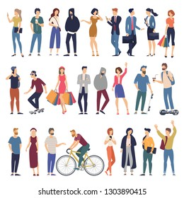 Set of vector ready to animation peole characters  performing various activities. Group of men and women flat design style cartoon characters isolated on white background.