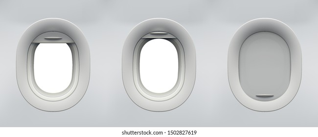Set of vector realistic aircraft windows with curtains in different positions and blank copyspace inside. Mockup for your design.