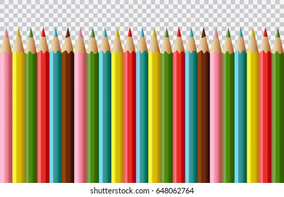 Set of vector realistic colored pencils isolated on transparent background