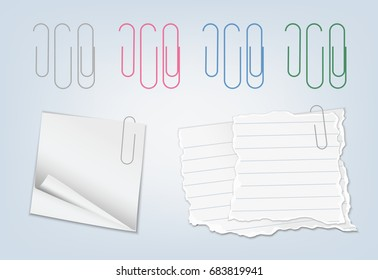 Set of vector realistic colorful paperclips with blank pieces of lined paper and post it notes