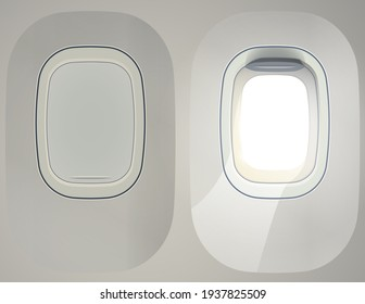 Set of vector realistic empty aircraft windows with curtains in different positions and blank copyspace inside. Mockup for your design