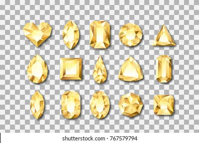 Set of vector realistic golden gems and jewels on transparent background. Gold shiny diamonds with different cuts. Design elements and icons for holiday gift and jewelry shop.