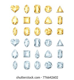 Set of vector realistic golden and silver white gems and jewels on white background. Gold shiny diamonds with different cuts. Design elements and icons for holiday gift and jewelry shop.