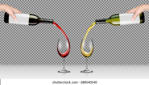 Set of vector realistic illustrations of hands holding glass bottles with white and red wine and pour it into transparent glasses, isolated, with reflection. Template, mockup for design, advertising