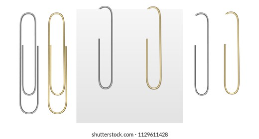 Set from vector realistic images of gold and silver paper clips. Paper clips attached to a sheet of paper. Images were created using gradiet mesh. Vector EPS 10