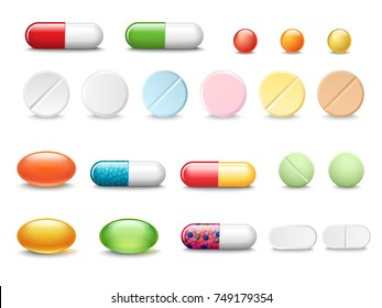 Set of vector realistic pills and capsules isolated on white background. Medicines, tablets, capsules, drug of painkillers, antibiotics, vitamins. Healthcare medical and vector illustration.