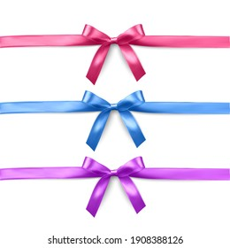 Set of vector realistic pink, purple and blue ribbon and bows on transparent background. Vector illustration