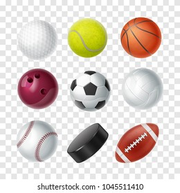 Set of vector realistic sports equipment on a transparent background