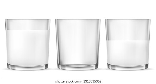 Set of vector realistic transparent glass glasses empty, half full and full of milk, dairy product, yogurt, kefir, protein cocktail. Print, template, design element