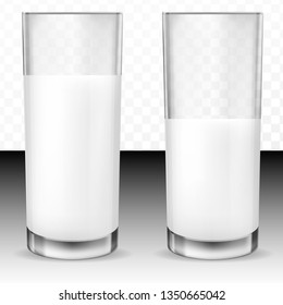 Set of vector realistic transparent glass glasses half full and full of milk, dairy product, yogurt, kefir, protein cocktail. Print, template, design element