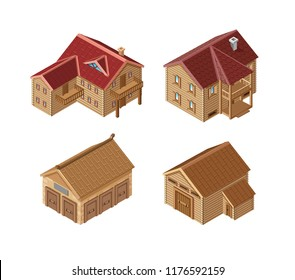 set of vector realistic wooden buildings of isometry