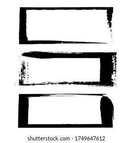 Set of vector rectangle grunge black stickers isolated on white background. A group of labels with uneven rough edges drawn with an ink brush. Vector design elements, 3 rectangle frames