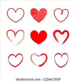 Set vector red heart  hand the drawn for valentine's day.Brush design on white background.vector illustration.Concept of heart elements for card valentine.