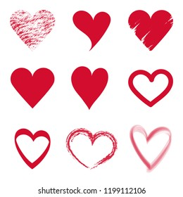 Set vector red Hearts icon. Hand drawn for valentine's day.