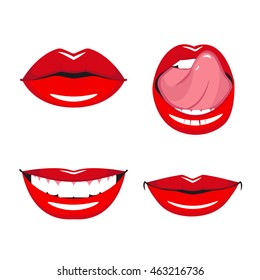 Set of vector red lips. Various types of woman lips. Broad smile with teeth, slight smile and tongue touches the upper teeth.