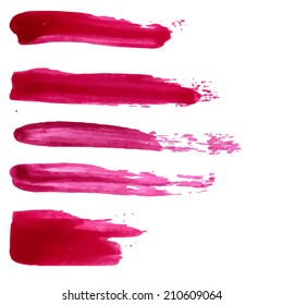 Set of vector red paint stains. Collection of lipstick and nail polish isolated swatches.