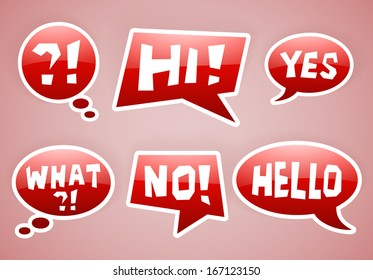 set of vector red speech bubbles with some signs