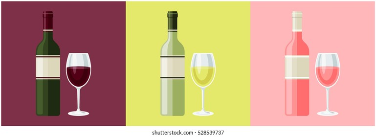 Set of vector red, white and rose wine bottles with glasses